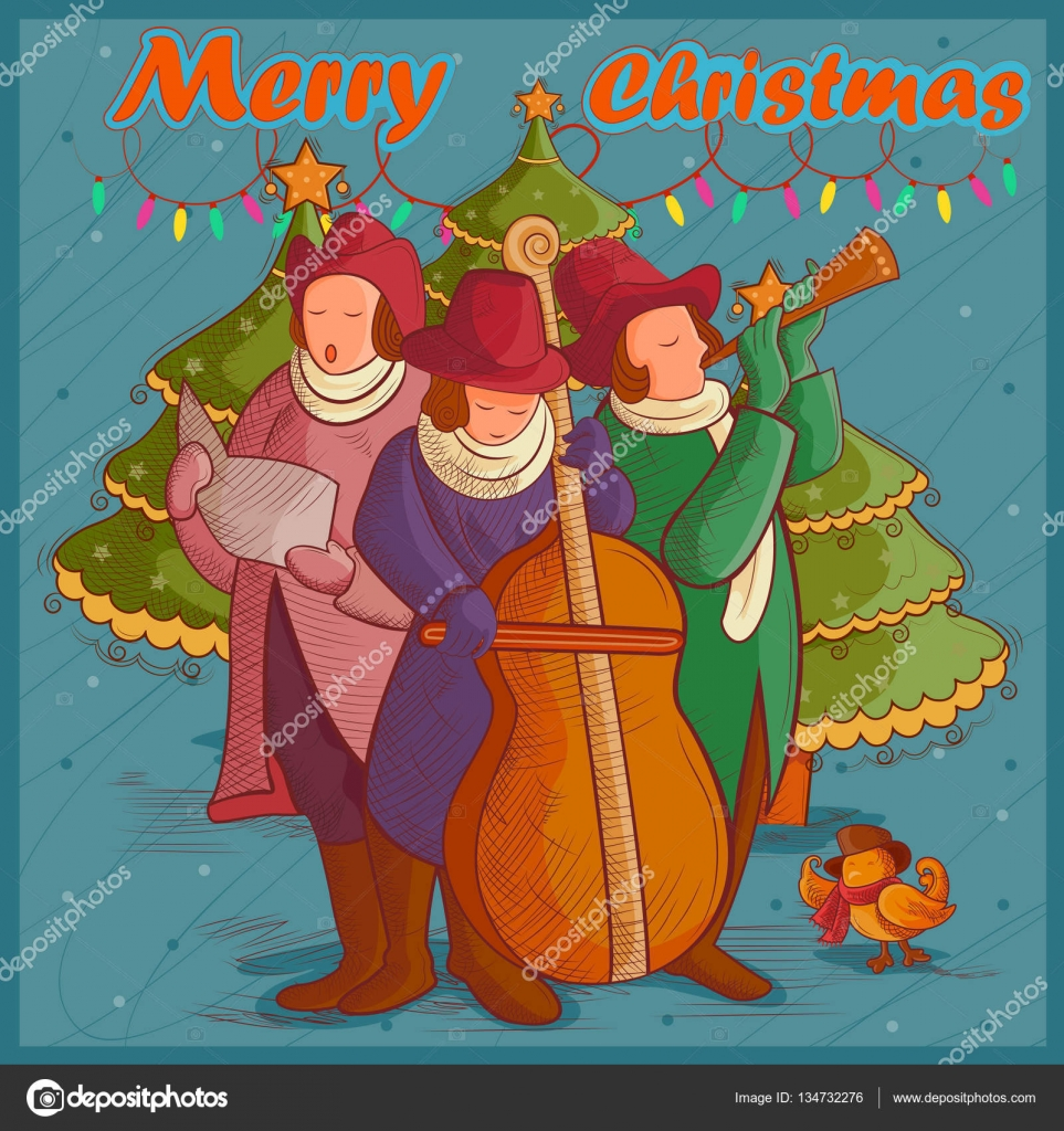 Menschen feiern und singen carol für Festival Frohe Weihnachten ...