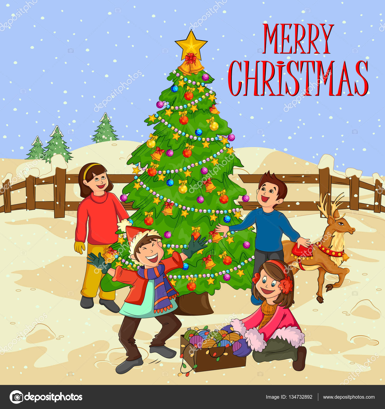 Christmas Festival Cartoon Images.People Celebrating Festival Merry Christmas Holiday