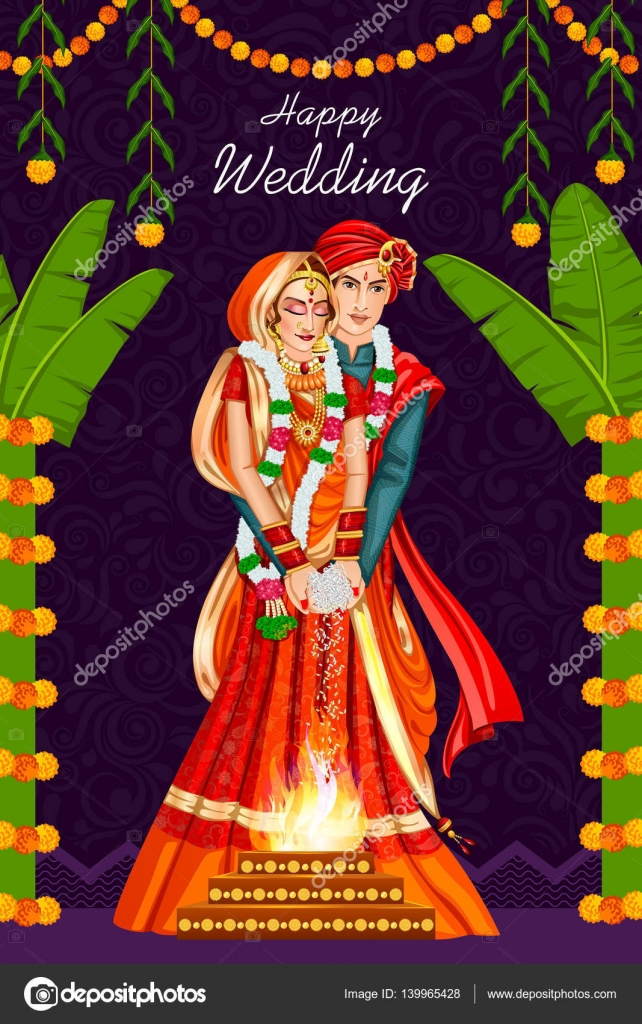 Indian Couple In Wedding Ceremony Of India Stock Vector