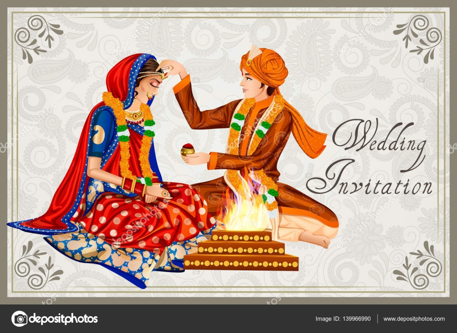 Áˆ Couple Wedding Dress Indian Stock Illustrations Royalty Free Indian Wedding Couple Backgrounds Download On Depositphotos