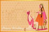 Fotografie Indischer Mann schlägt Frau in der Hochzeitszeremonie von Indien