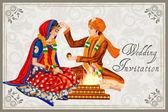 Fotografie Indische Paare in Maang Bharai Trauung von Indien