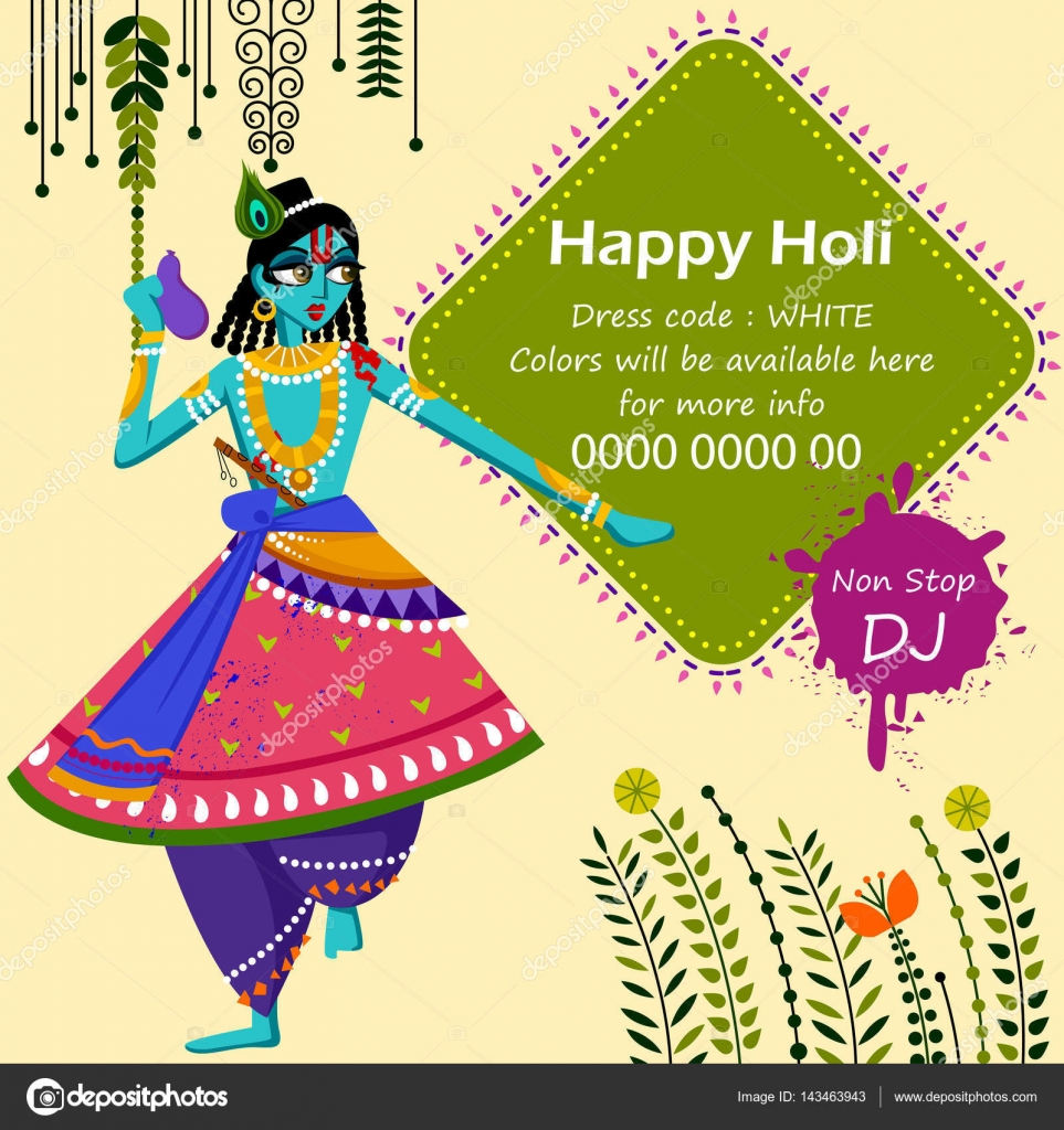 Indian God Krishna Celebrating Color Festival Of India Holi Stock