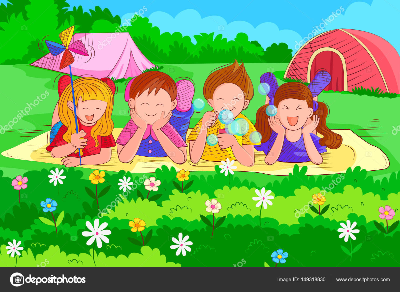 Kids Playing And Enjoying In Summer Vacation Stock Vector