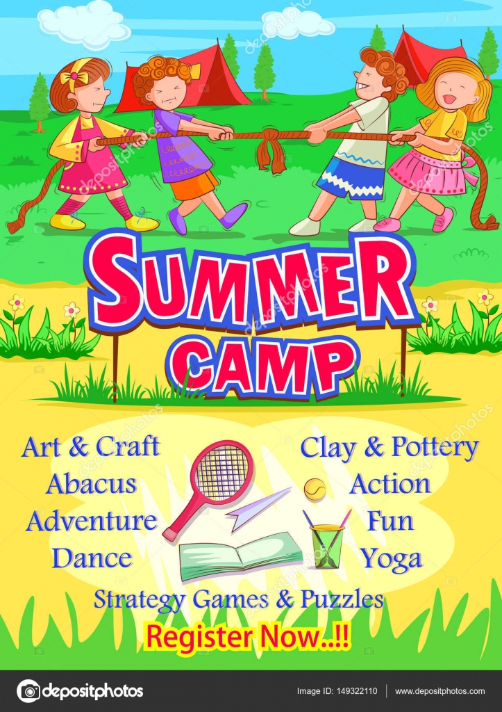 Banner Poster Design Template For Kids Summer Camp Activities Stock Vector