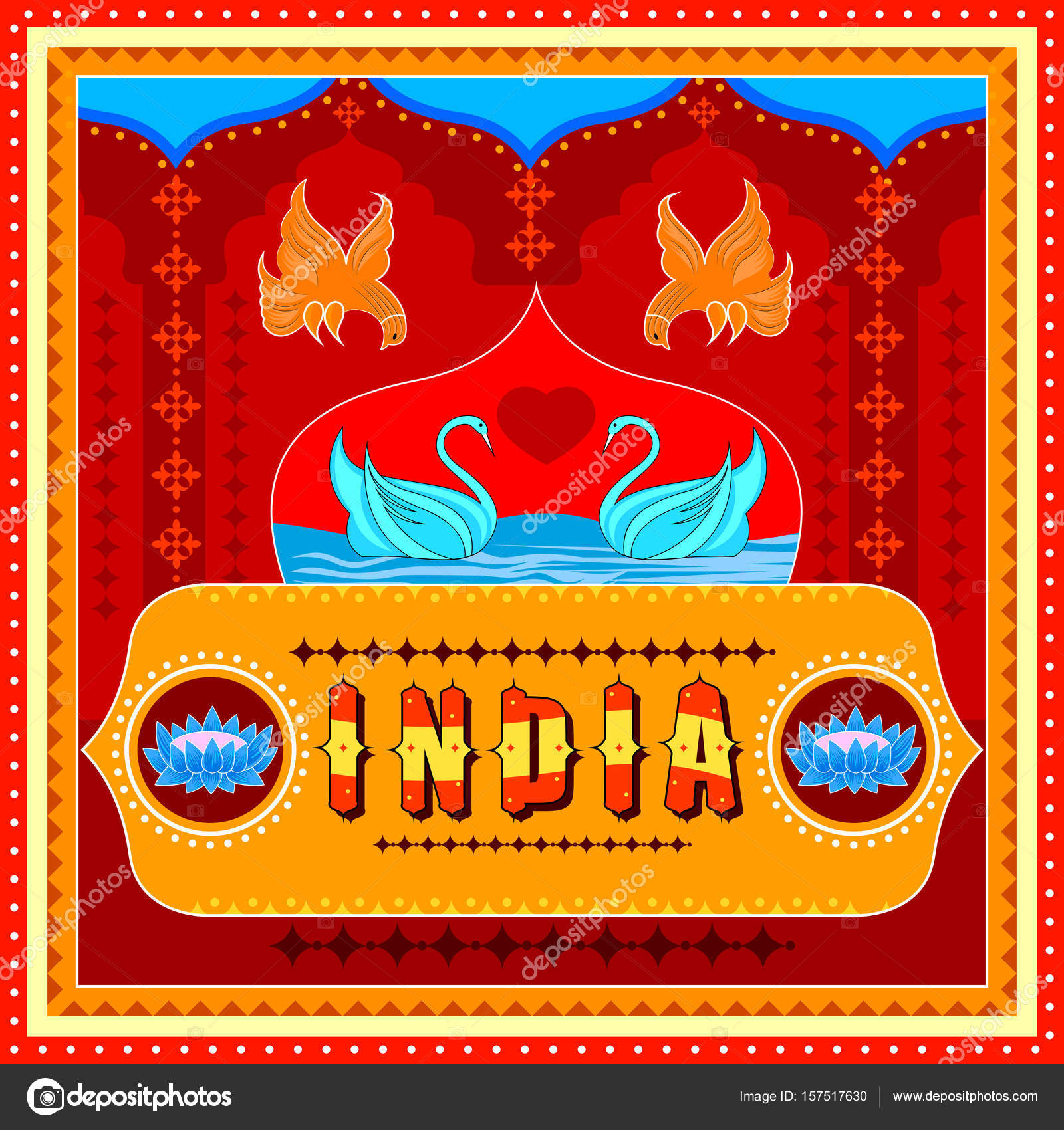 India background in Indian Truck Art style — Stock Vector