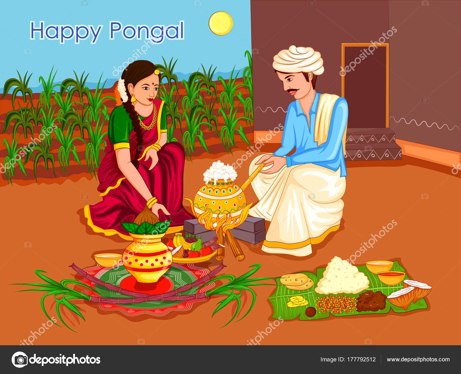 Happy Pongal religious traditional festival of Tamil Nadu