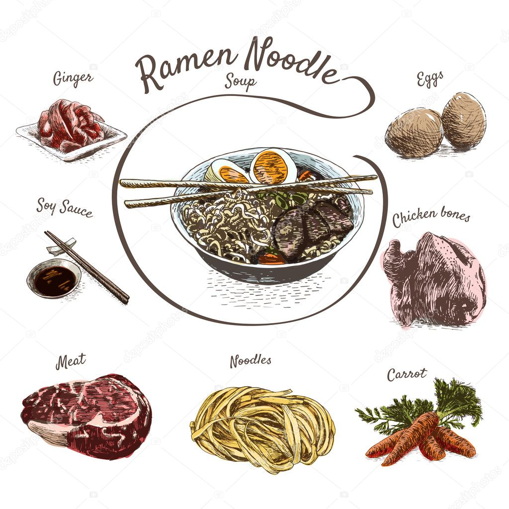 ラーメン スープの食材イラスト ストックベクター Messer16 124986940