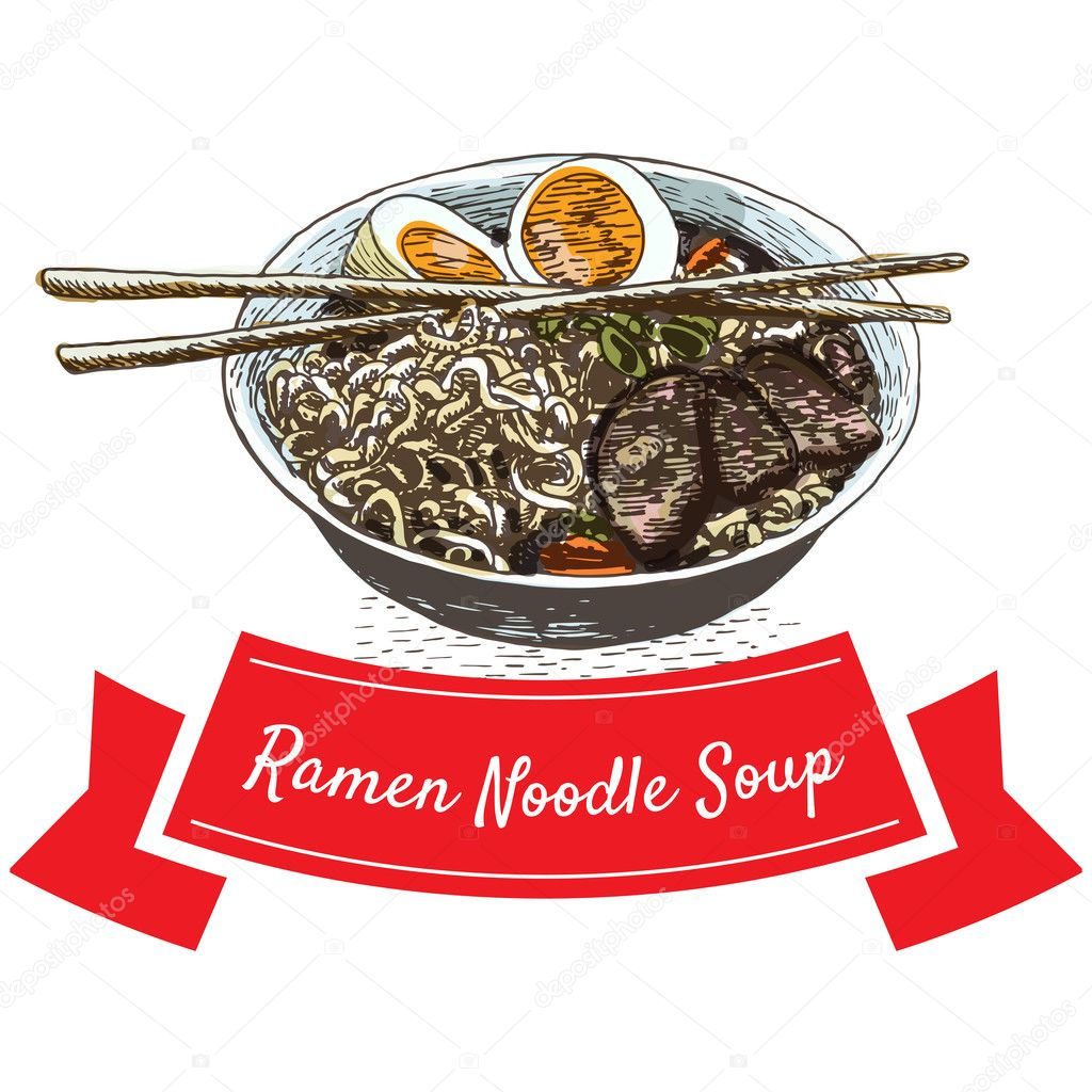 ラーメン麺スープ イラスト ストックベクター Messer16 124989440