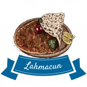 Photo Lahmacun colorful illustration.