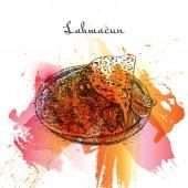 Photo Lahmacun watercolor effect illustration.