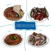 Photo Vector colorful illustration of Turkish cuisine