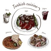 Photo Colorful vector illustration of turkish cuisine.