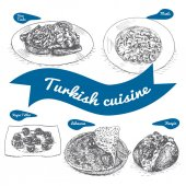 Photo Monochrome vector illustration of Turkish cuisine