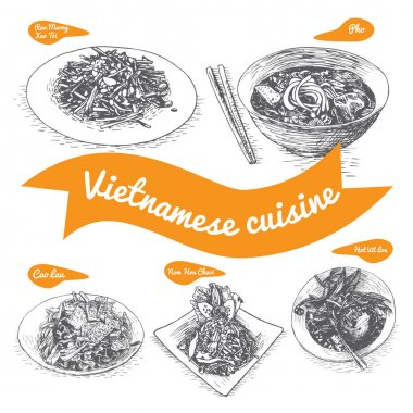 Monochrome vector illustration of Vietnamese cuisine
