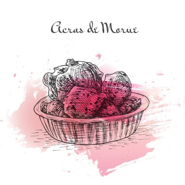 Acras de Morue watercolor effect illustration.