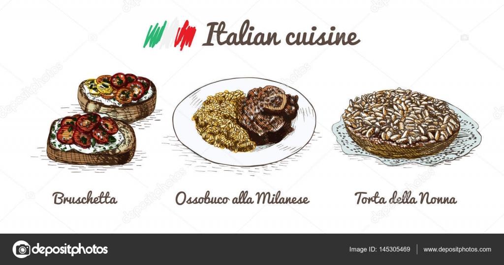 イタリアン メニューのカラフルなイラスト ストックベクター