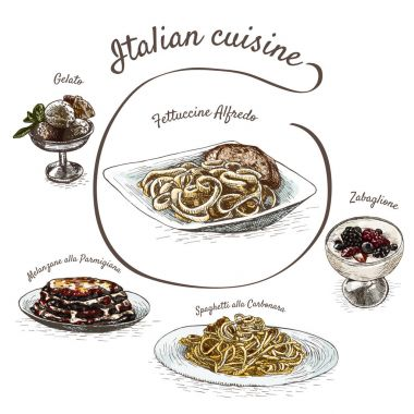 Italian menu colorful illustration.