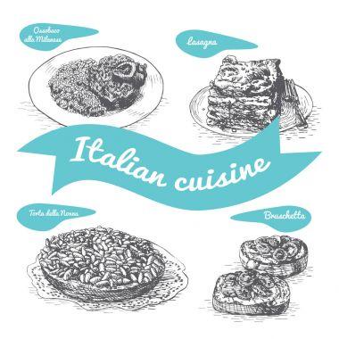Monochrome vector illustration of Italian cuisine.