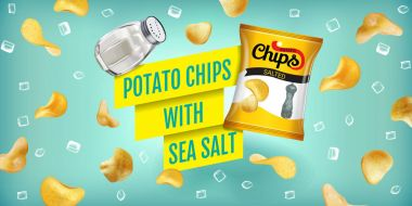 Vector realistic illustration of potato chips with sea salt.