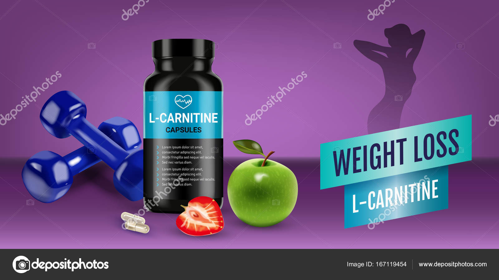 Weight Loss L Carnitine Ads Vector Realistic Illustration Of Cans