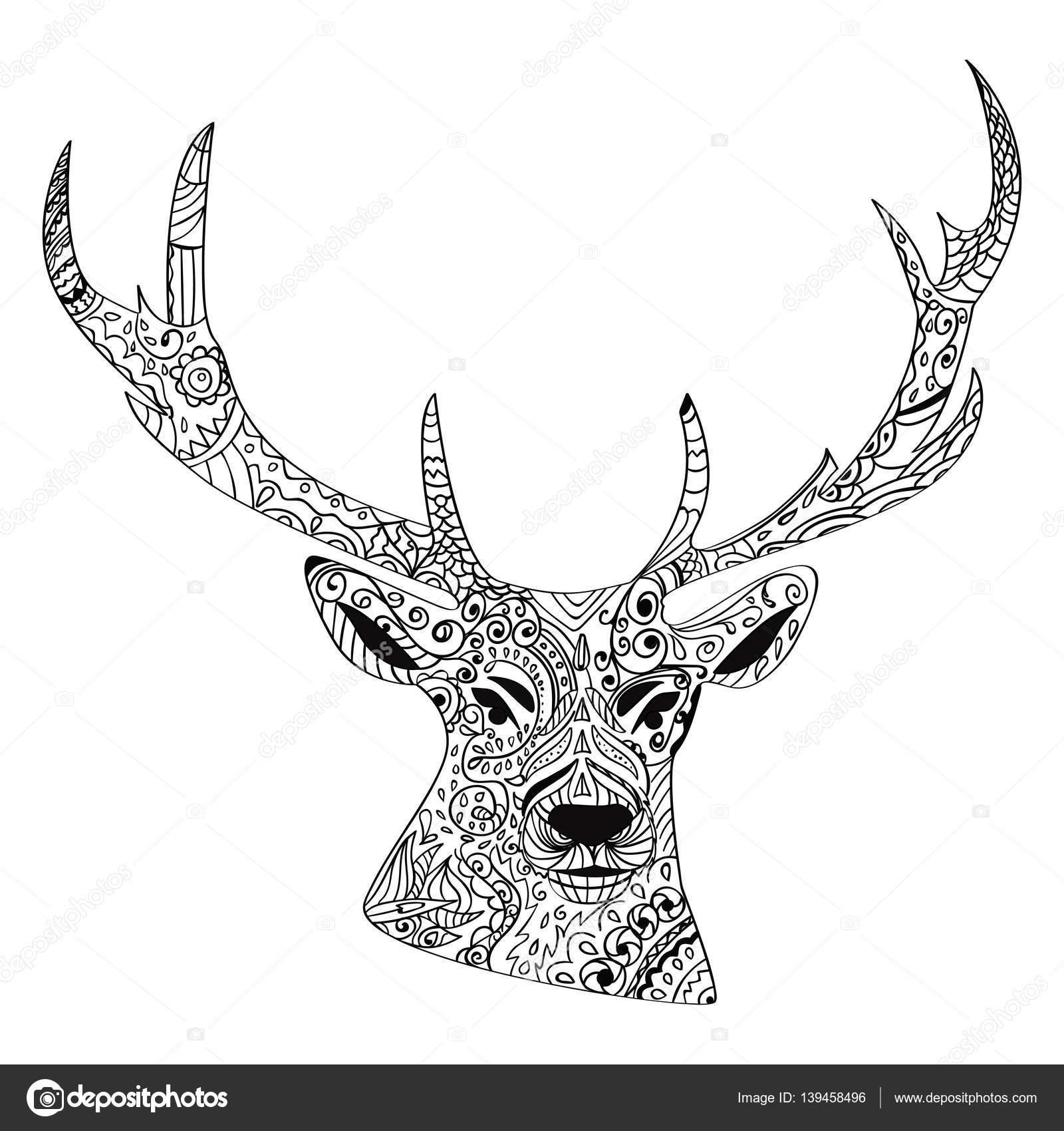 Strichzeichnungen Hand Zeichnung Schwarz Hirsch Isoliert Auf Weißem