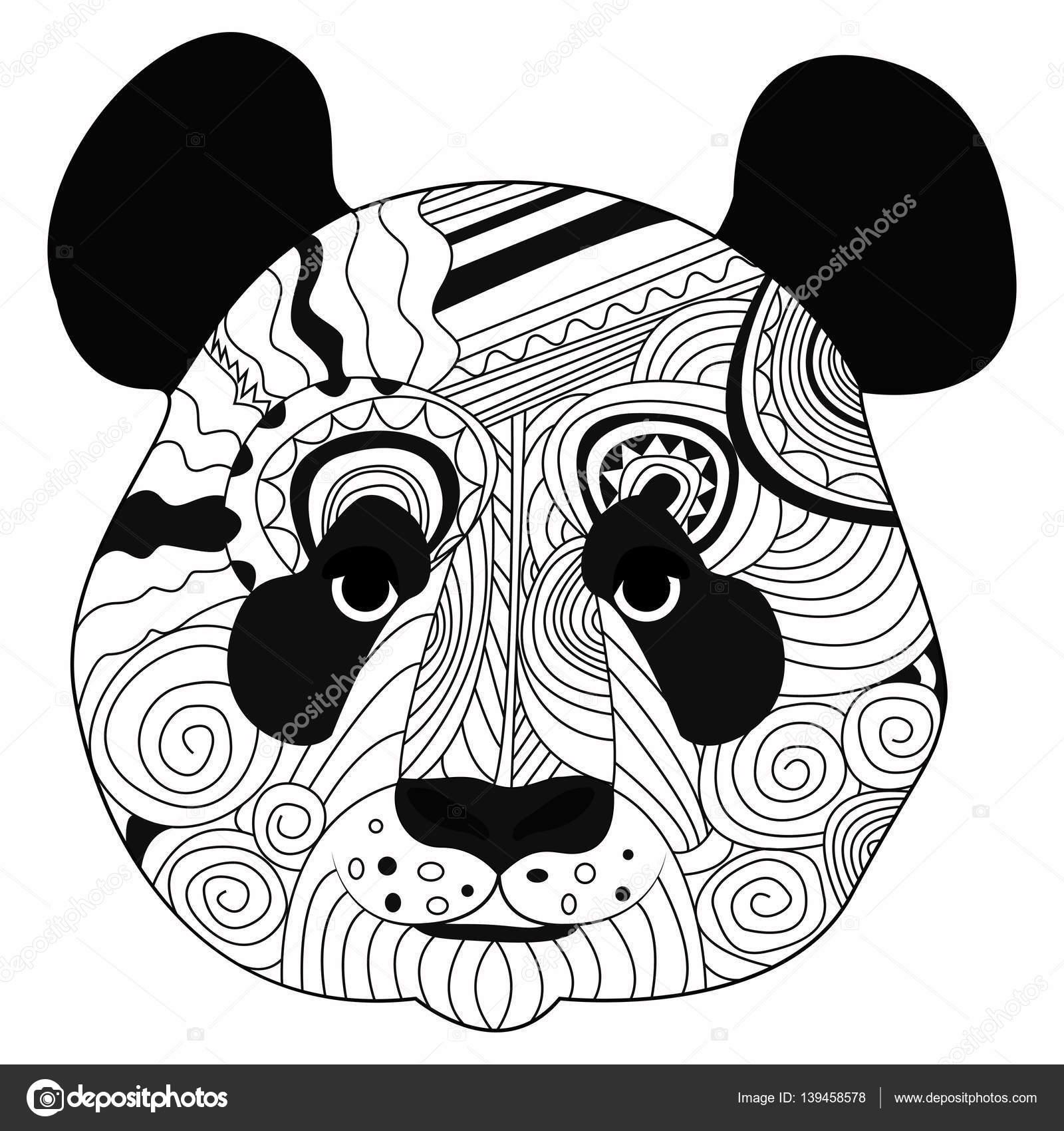 L 237 Nea Arte Mano Dibujo Panda Negro Aislado Sobre Fondo