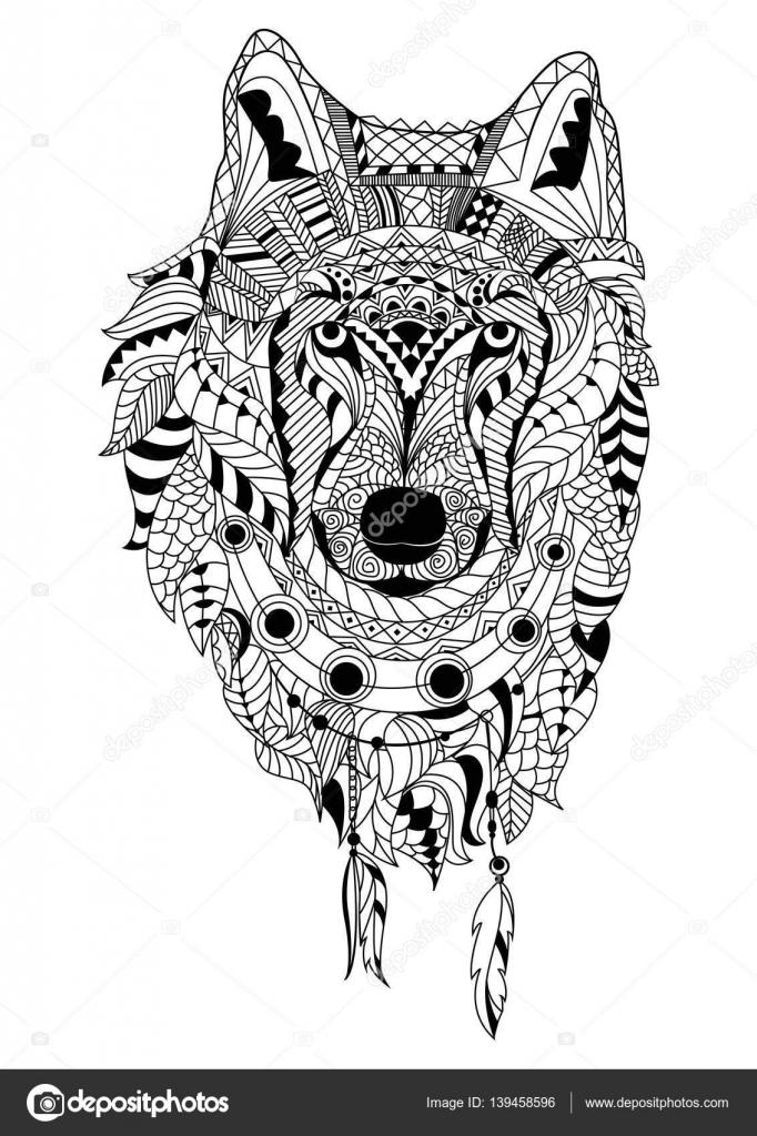 Strichzeichnungen Hand Zeichnung Schwarz Wolf Isoliert Auf