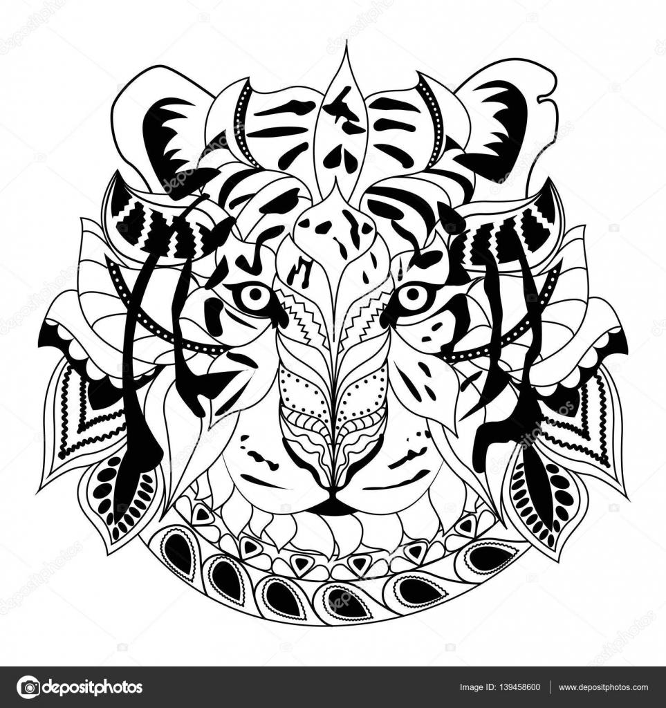 Kleurplaten Witte Tijger.Zeer Fijne Tekeningen Hand Tekenen Zwarte Tijger Geisoleerd Op Een