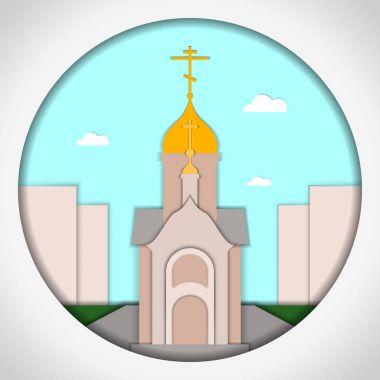 Paper applique style Card with application of St. Nicholas the Wonderworker, Novosibirsk, Siberia. Postcard.Vector illustration. clip art vector
