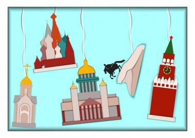 Paper applique style vector illustration.Card with application of Basils Cathedral,Kremlin,Isaacs Cathedral, monument to Peter the Great The copper rider and Chapel of St. Nicholas the Wonderworker.