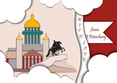 Paper applique style vector illustration. Card with application of monument to Peter the Great The copper rider and St. Isaacs Cathedral decorated with text from Saint Petersburg with love.Postcard.