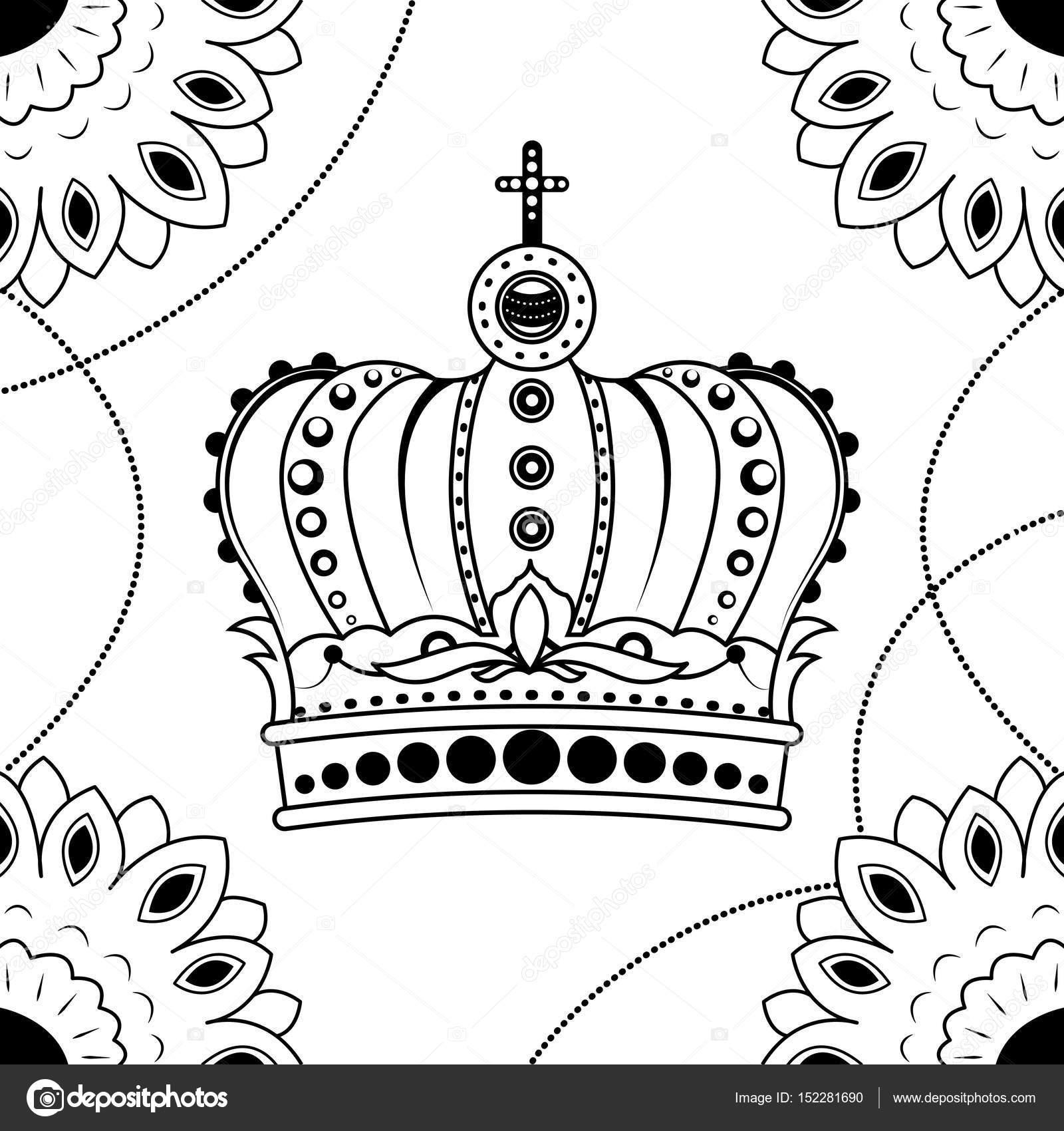 Strichzeichnungen hand Zeichnung schwarze Krone isoliert auf weißem ...