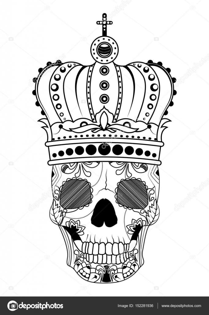Linie Kunst Hand Die Zeichnung Schwarz Totenkopf Mit Krone Auf