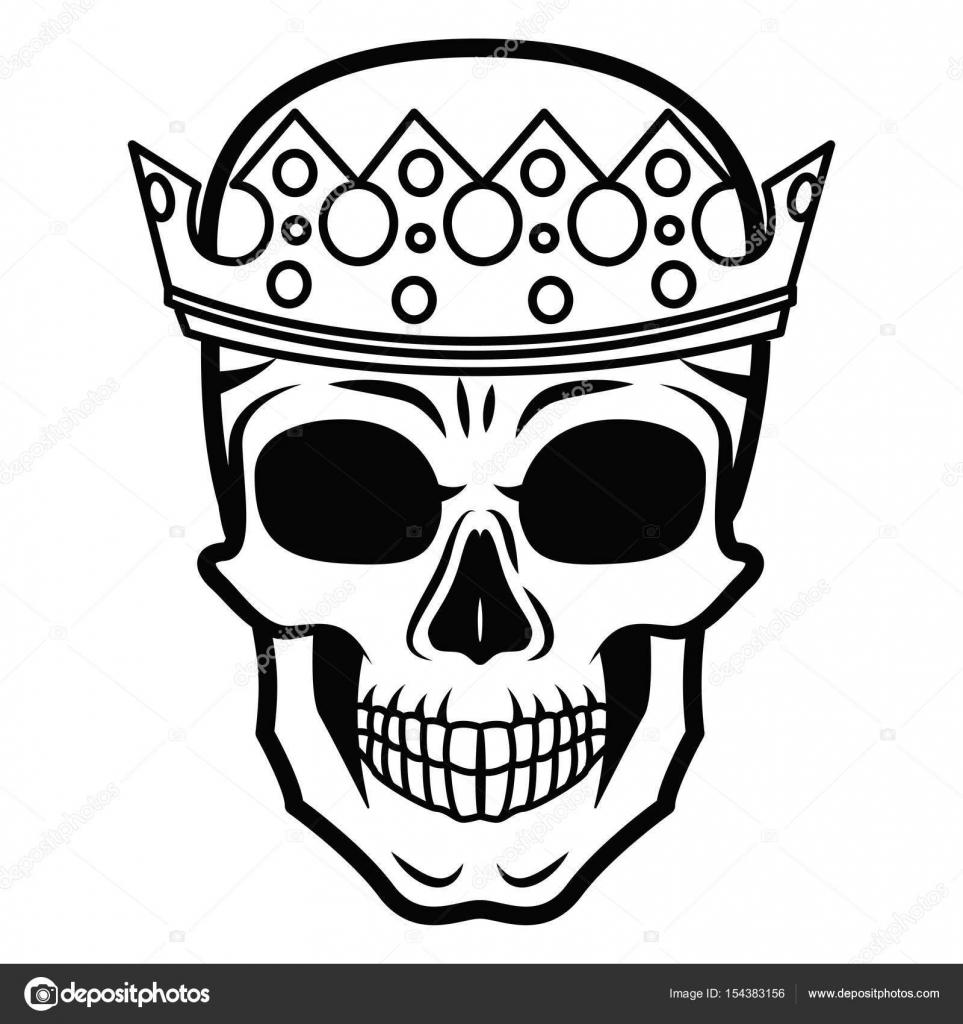 Linie Kunst Hand, die Zeichnung schwarz Totenkopf mit Krone auf ...
