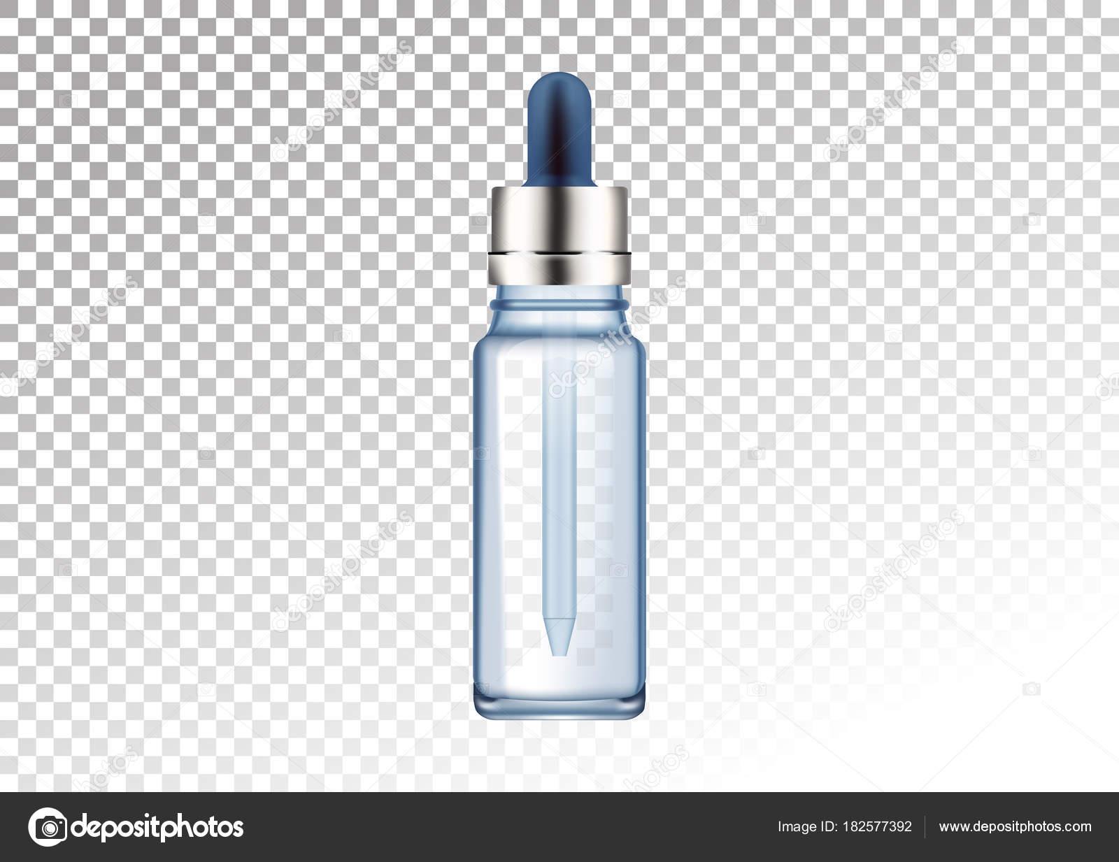ベクトル現実的なガラス瓶油液体必須コラーゲン血清用化粧品管瓶