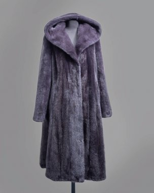 Mink coat gray-lilac color with hood and flared skirt Horizontal frame