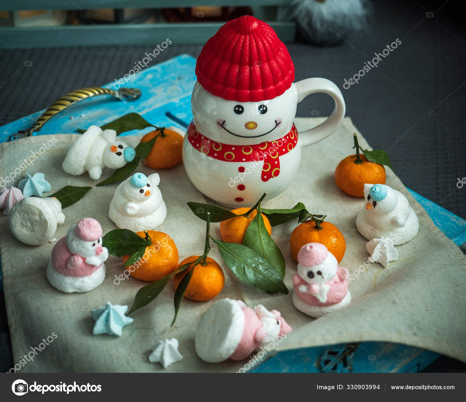 Merry Christmas Mug And Meringue Cookies In The Form Of Snowmen And Tangerines On A Napkin And Rustic Tray Stock Photo C Fotom 911 Bk Ru 330903994