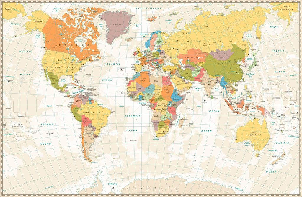 Old Retro World Map With Lakes And Rivers Stock Vector C Cartarium