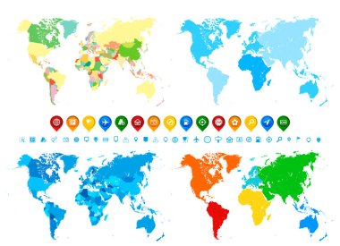 World maps collection and navigation icons in different colors a