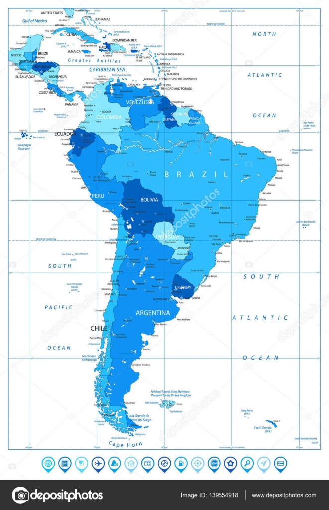 Detailed Map Of America.Detailed Map Of South America In Colors Of Blue And Map