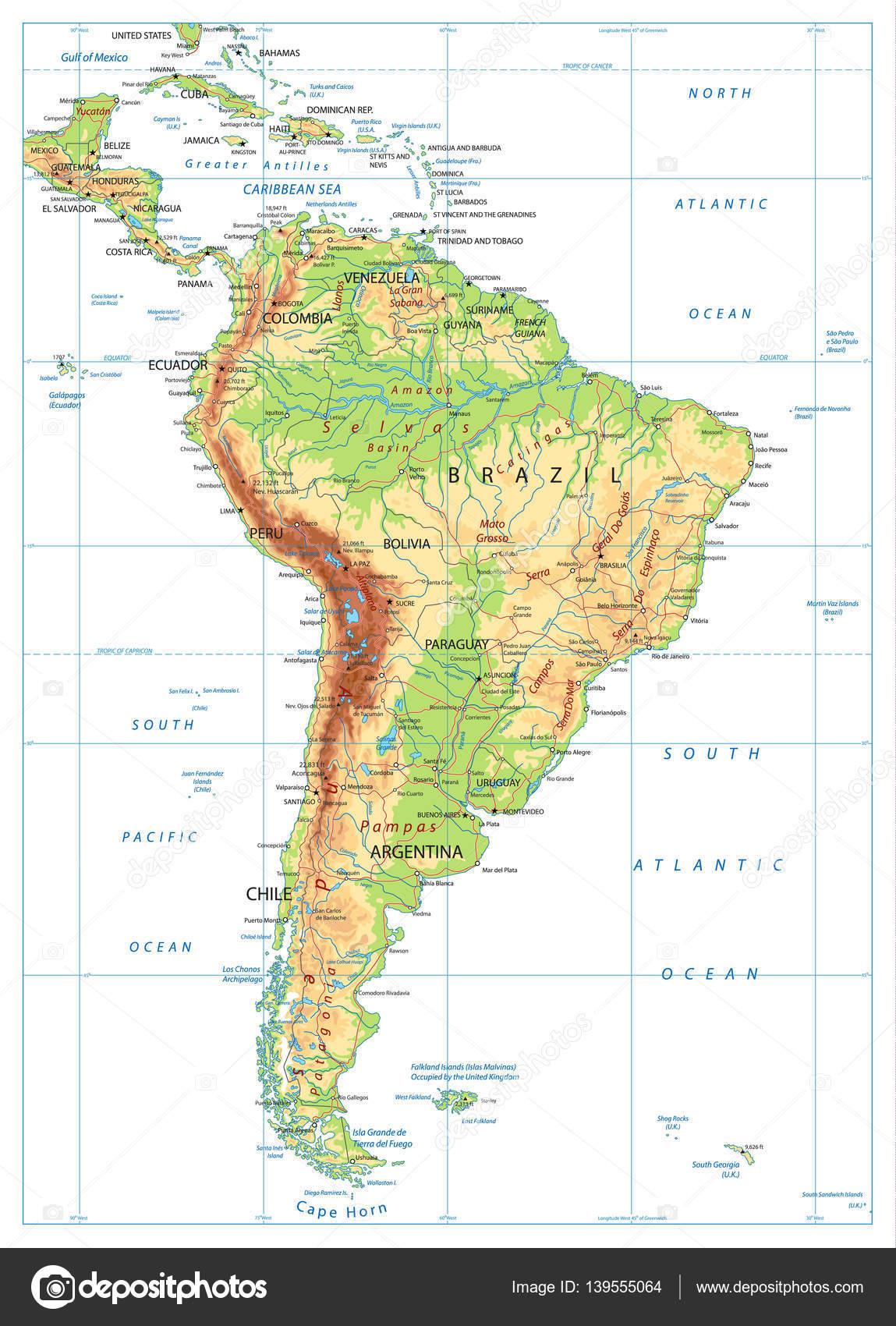 Cape Horn On South America Map.South America Physical Map Isolated On White Stock Vector