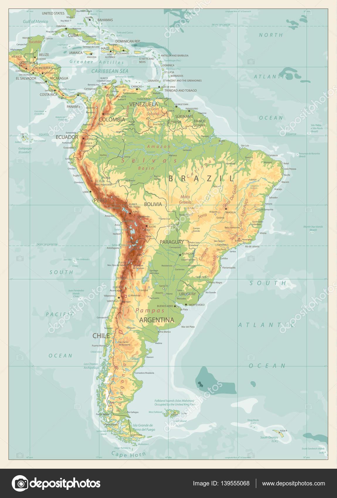 Retro Color Physical Map Of South America Stock Vector