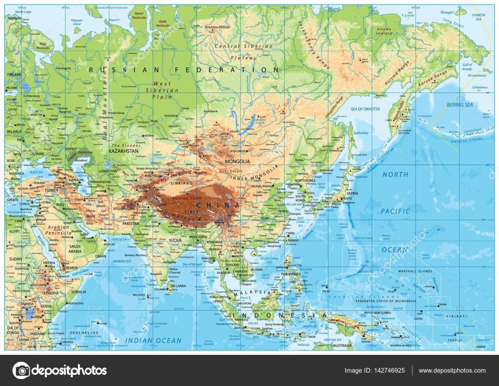 Karte Asien.Asien Physische Karte Stockvektor Cartarium 142746925