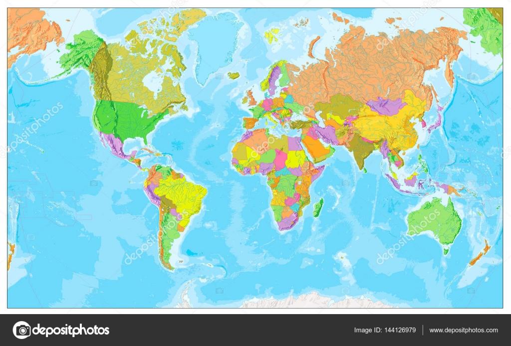 Mapa Físico Del Mundo.Mapa Fisico Del Mundo En Los Colores Del Mapa Politico Del