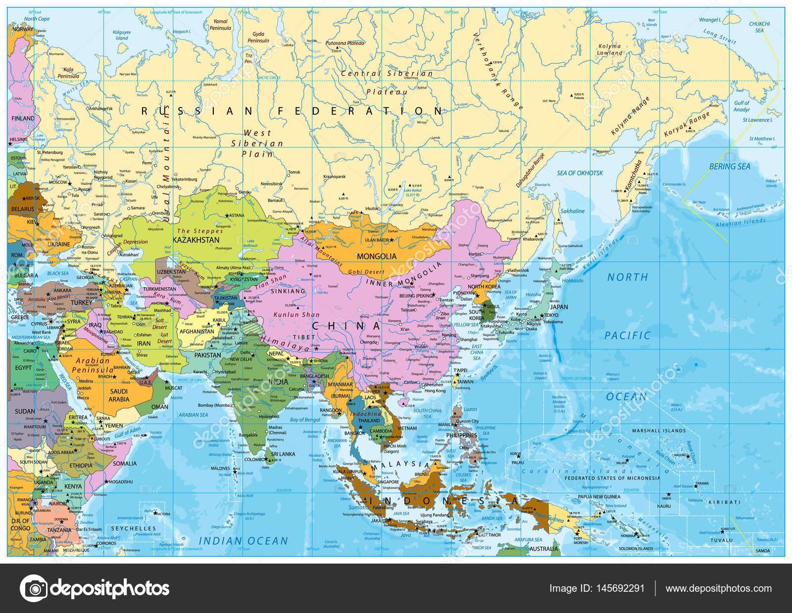 Asia political map — Stock Vector © Cartarium #145692291