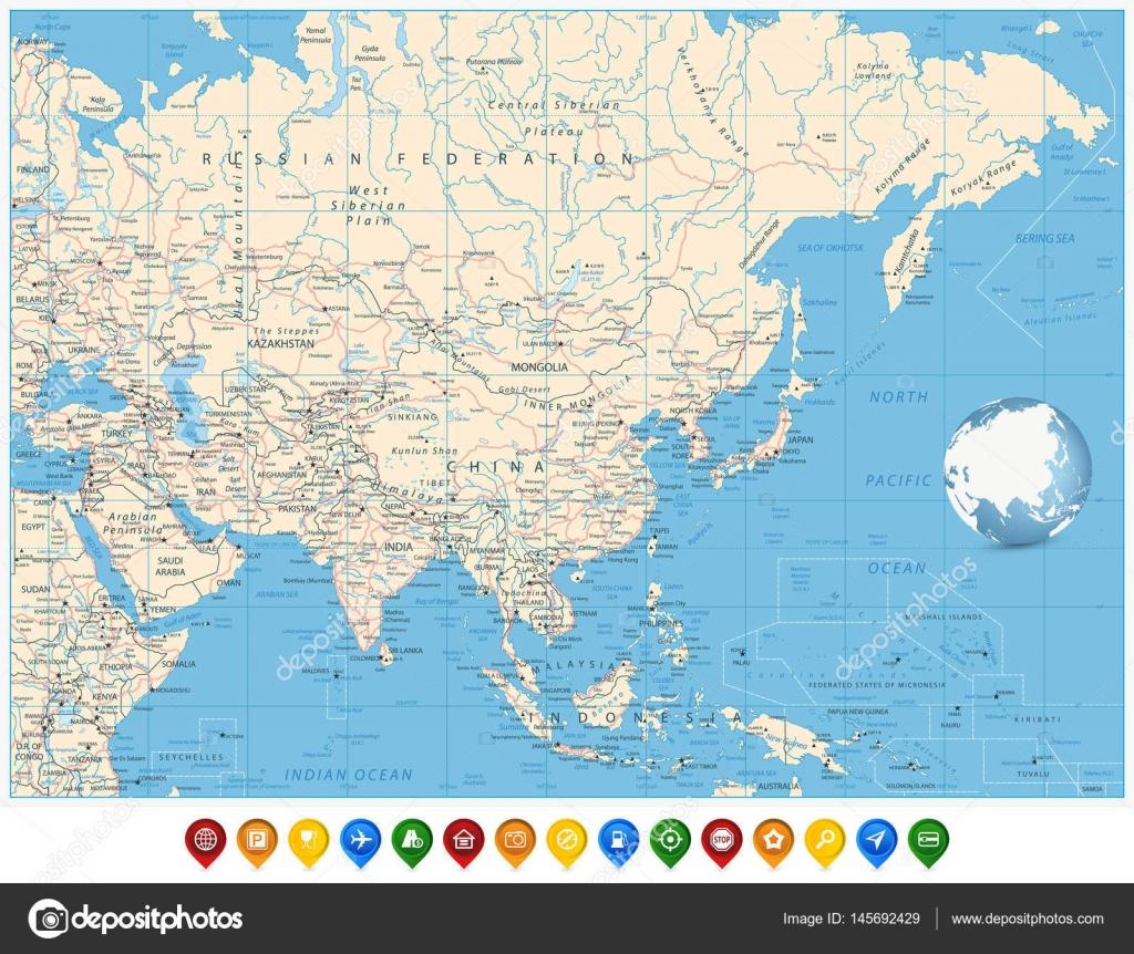 Politische Karte Asien.Politische Karte Asien Und Und Pin Positionssymbole Stockvektor