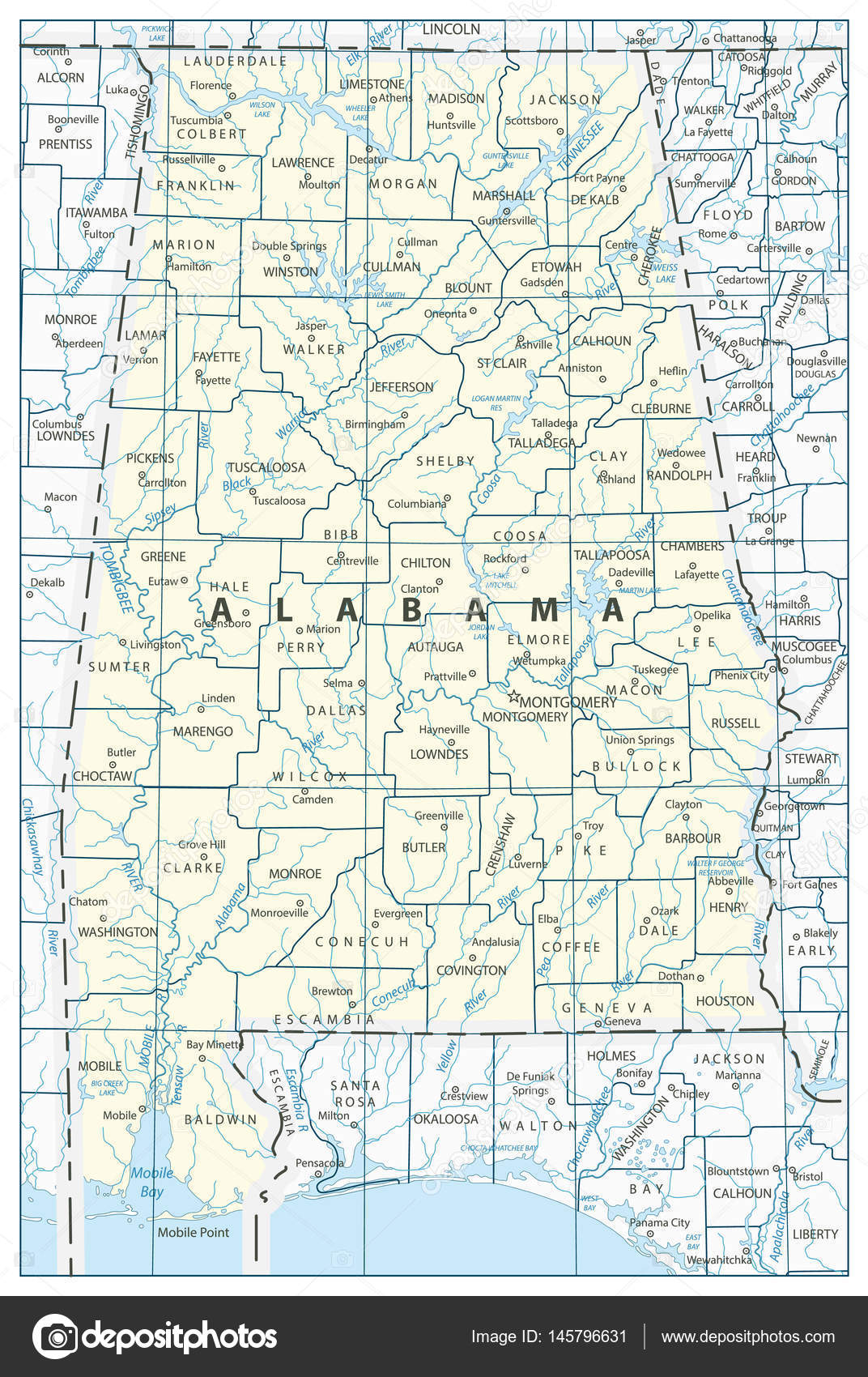 Alabama State Map — Stock Vector © Cartarium #145796631