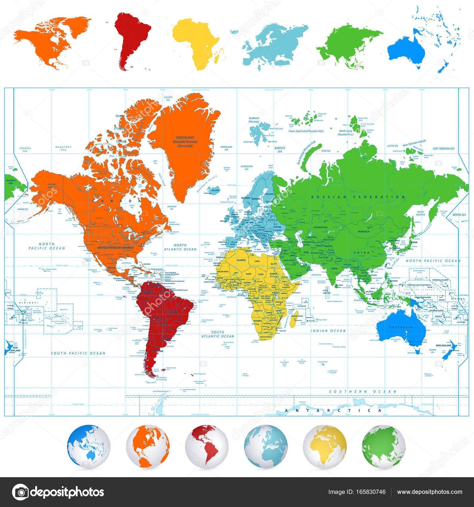 Carte Du Monde Vecteur Détaillé Avec Les Continents Colorés