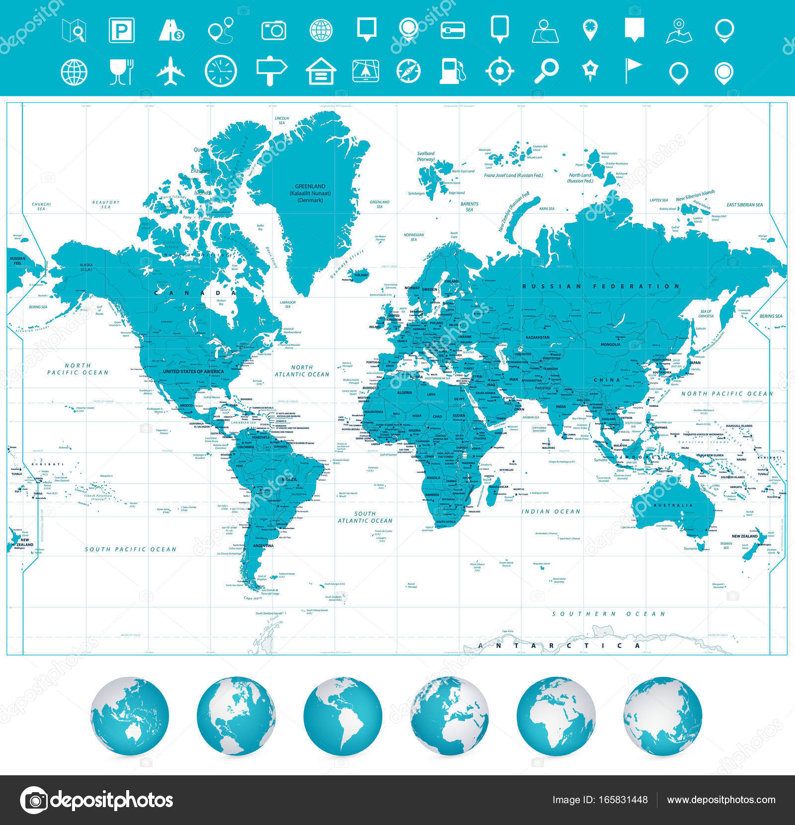 World Map And Globes With Labeling Stock Vector C Cartarium 165831448